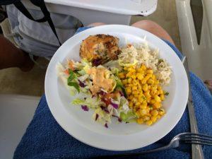 A gluten free bajan lunch onboard Tiami Catamaran Cruises!