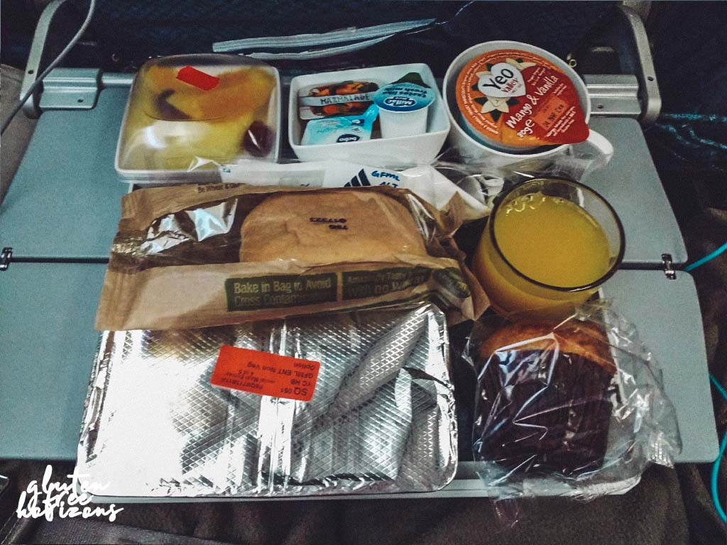 Outbound gluten free breakfast food on Singapore Airlines economy class - outbound form the UK was better than inbound.