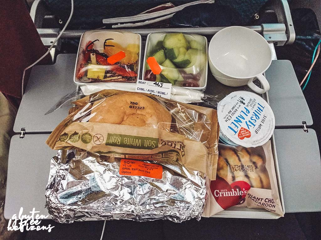 Outbound gluten free food on Singapore Airlines economy class - outbound form the UK was better than inbound.