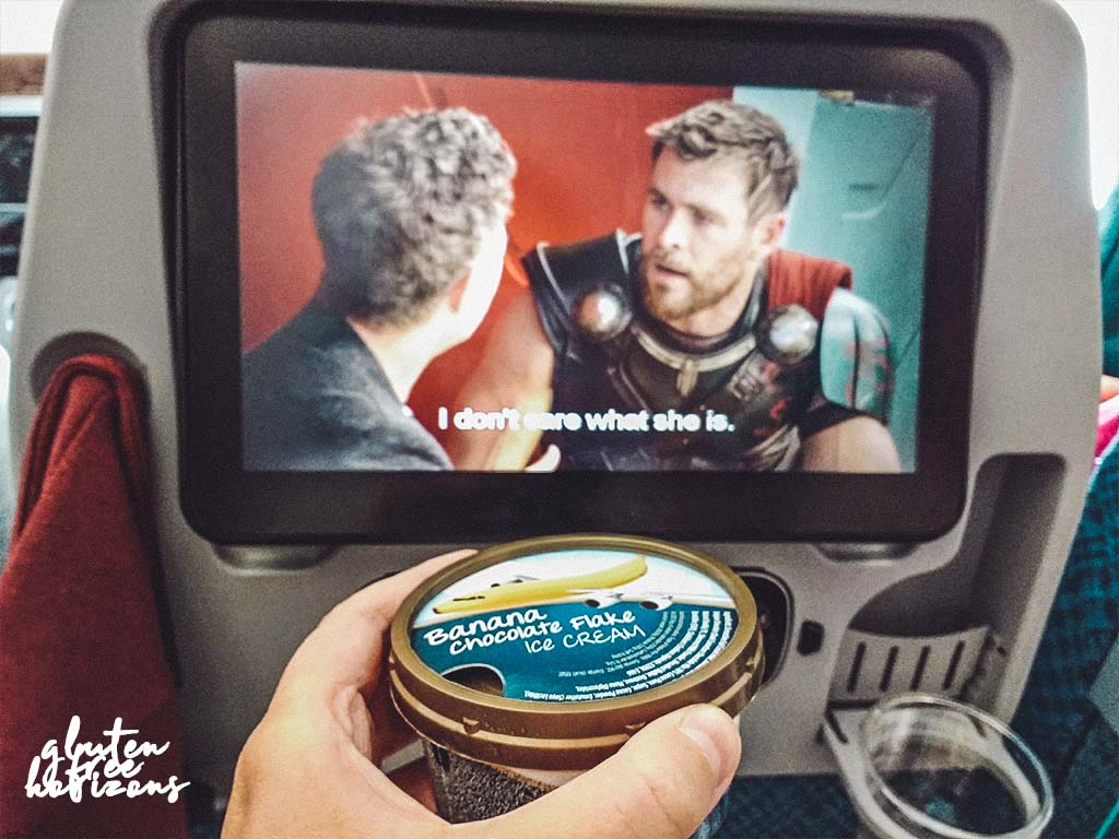 In flight entertainment  with gluten free food on Singapore Airlines