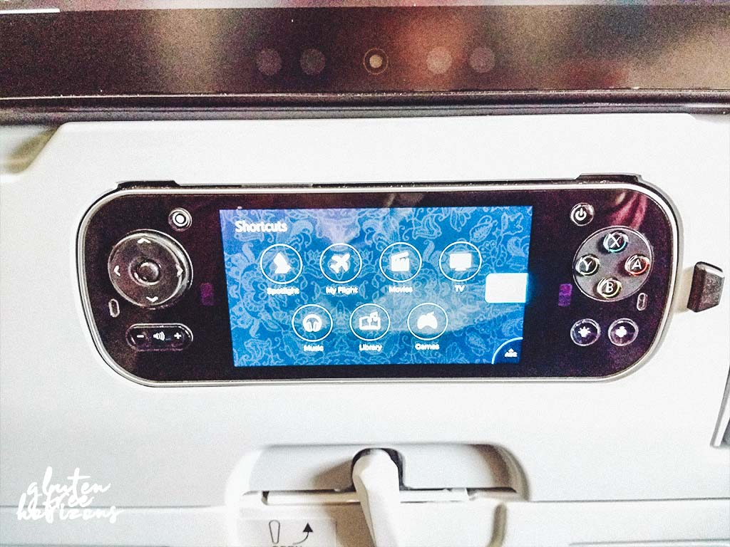 In flight entertainment controller on Singapore Airline economy class