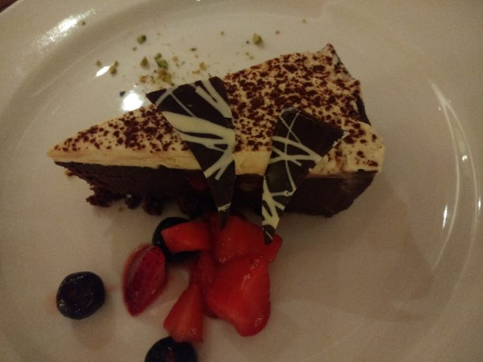 One of the better examples of dessert on Sapphire Princess - gluten free chocolate cake with strawberries.