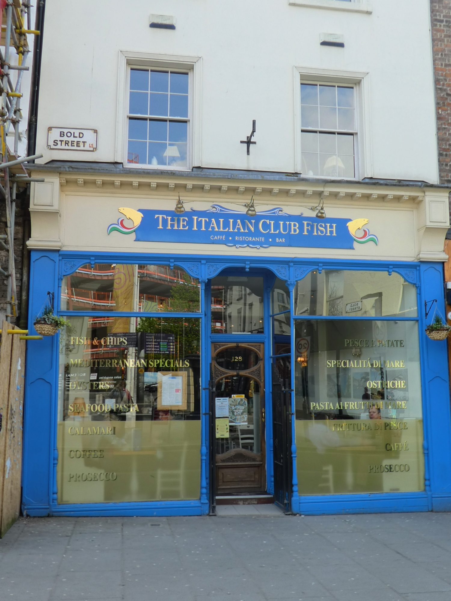Eating Gluten Free at The Italian Club Fish | Eating Gluten Free in Liverpool | Restaurant Exterior