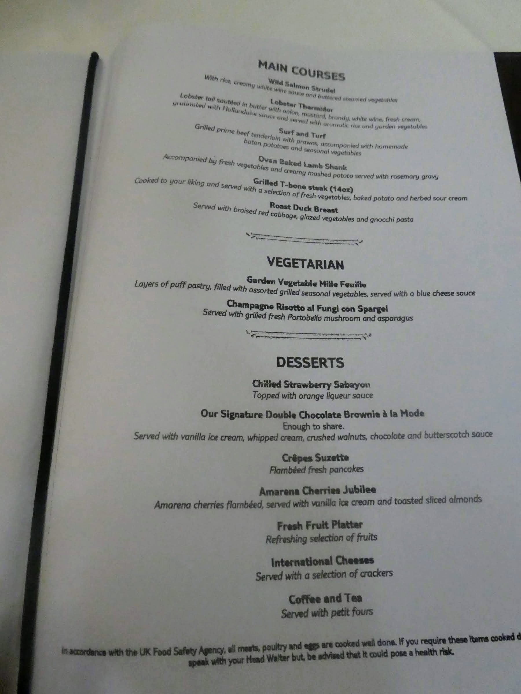 Eating Gluten Free on Marella Cruises - Sirocco's menu