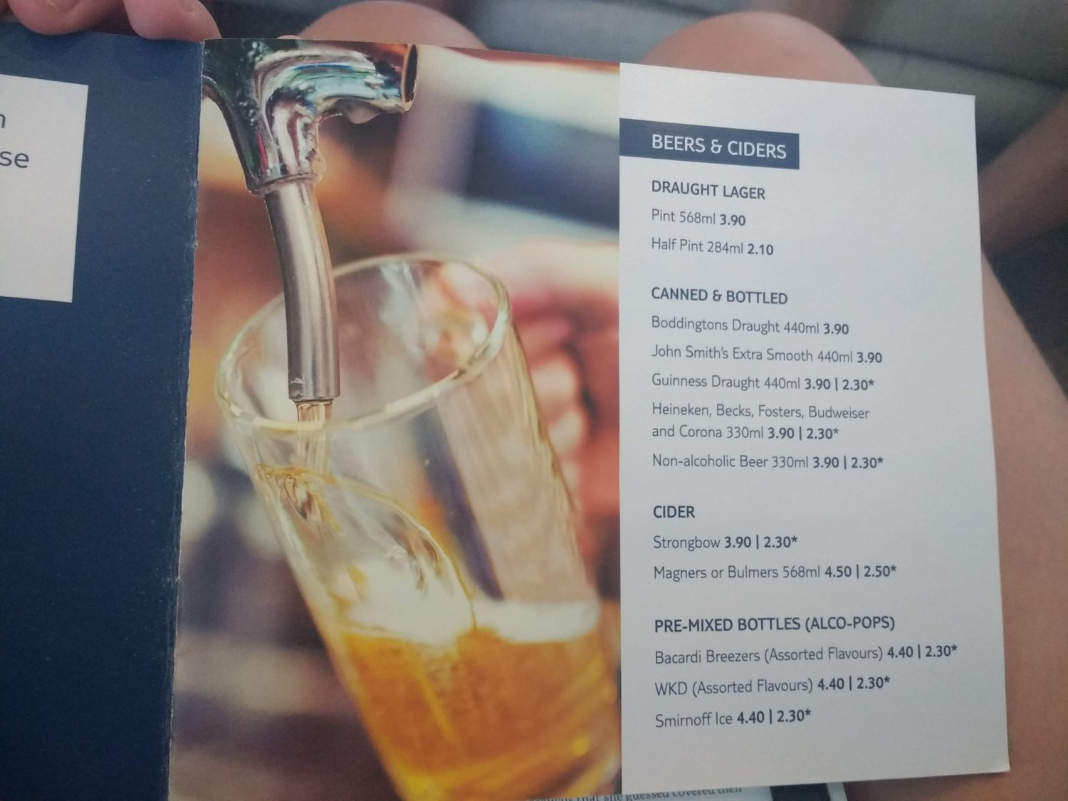 Eating Gluten Free on Marella Cruises - beer and cider menu