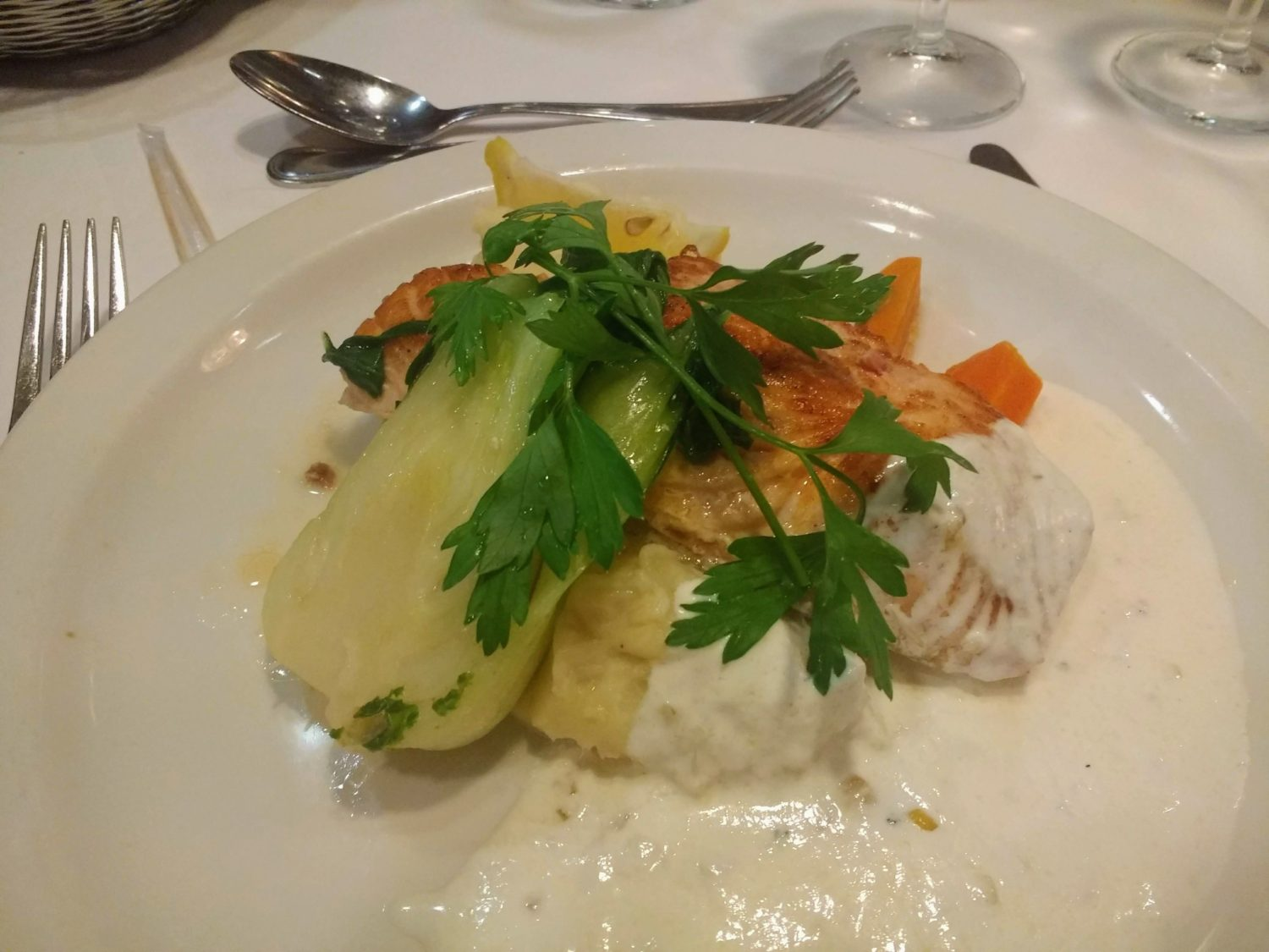 Eating Gluten Free on Marella Cruises - salmon with herby lemon sauce