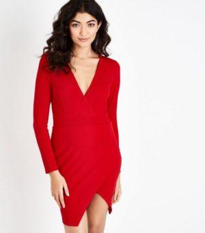 AX Paris Red Wrap Front Bodycon Dress