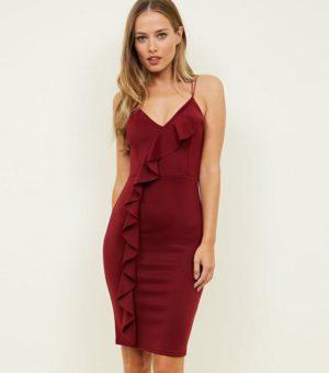 Burgundy Frill Trim Strappy Party Dress