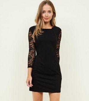 Mela Lace Sleeve Step Neckline Dress