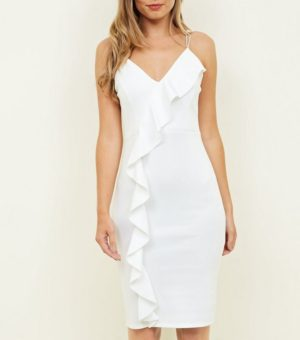 White Frill Trim Strappy Party Dress