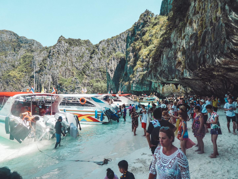 Cruise Highlights of 2018 - Crowds at Maya Beach, Phi Phi Leh